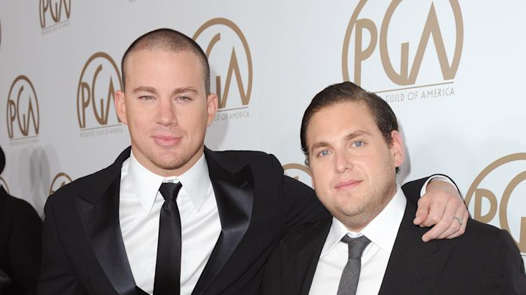 IMAGE DISTRIBUTED FOR THE PRODUCERS GUILD - Channing Tatum, left, and Jonah Hill arrive at the 24th Annual Producers Guild (PGA) Awards at the Beverly Hilton Hotel on Saturday Jan. 26, 2013, in Beverly Hills, Calif. (Photo by Jordan Strauss/Invision for The Producers Guild/AP Images)