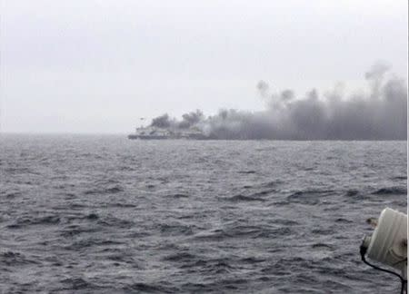 The car ferry Norman Atlantic burns in waters off Greece in this still image from video