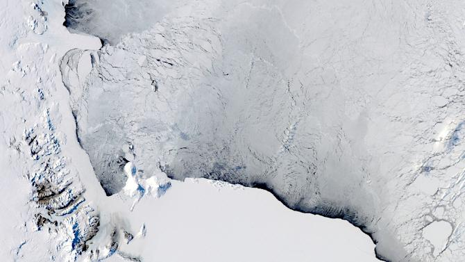 A NASA image of the Ross Sea in Antarctica, which has been a rare safe haven for emperor penguins for thousands of years