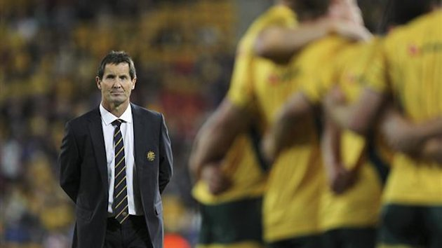 Australia&#39;s coach Robbie Deans looks on during their international rugby union test match against Wales in Brisbane
