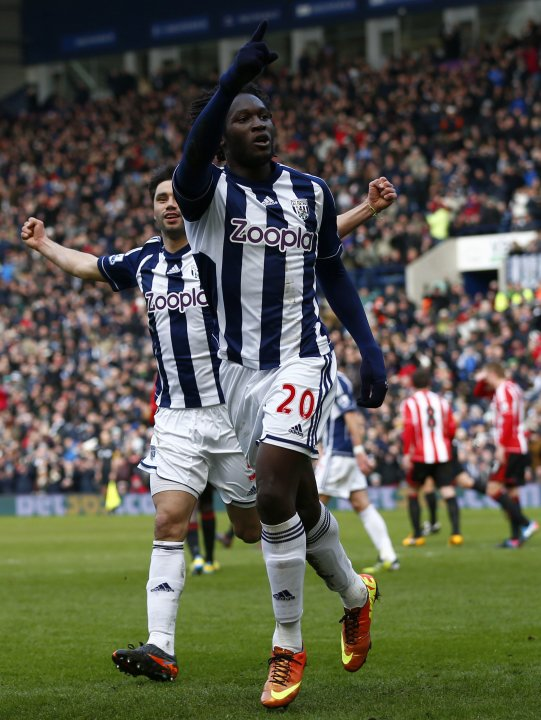 West Bromwich's Lukaku celebrates scoring a penalty against Sunderland during their English Premier League soccer match in West Bromwich