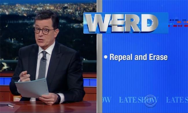 Stephen Colbert Brings Back The 'Werd' To Cover The Ongoing Battle To 'Repeal And Erase' Obamacare