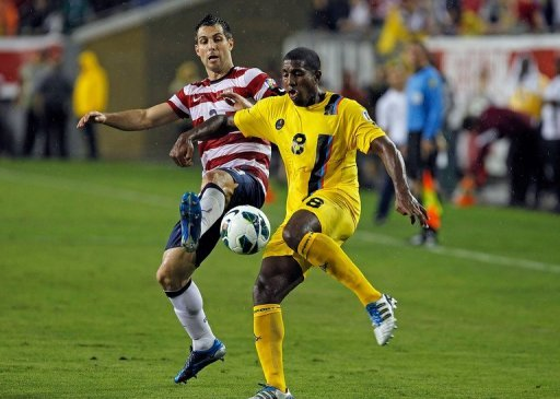 Carlos Bocanegra (L) scored the team's second goal