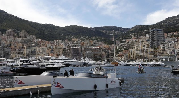 Yachts are seen in the Monaco harbor after the qualifying session of the Monaco F1 Grand Prix