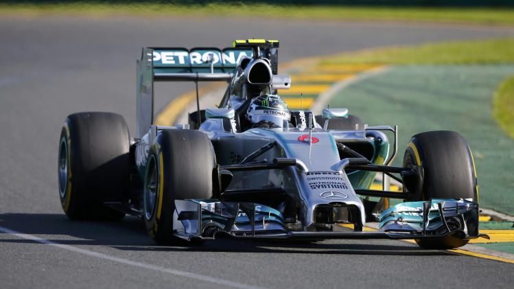 Mercedes Formula One driver Rosberg of Germany takes a corner during the second practice session of the Australian F1 Grand Prix in Melbourne