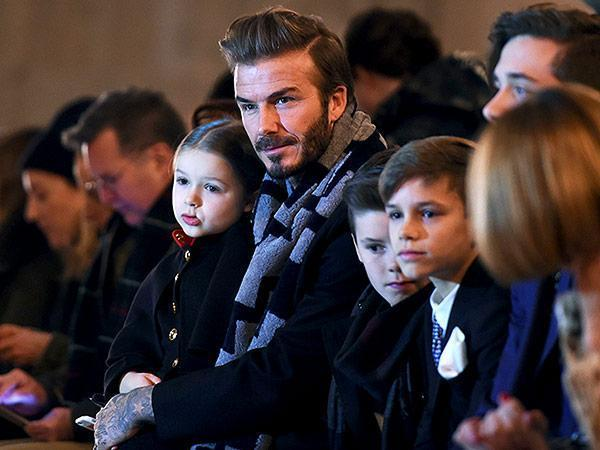 David Beckham and His Adorable Kids Sit Front Row for Mom Victoria's Latest FashionShow