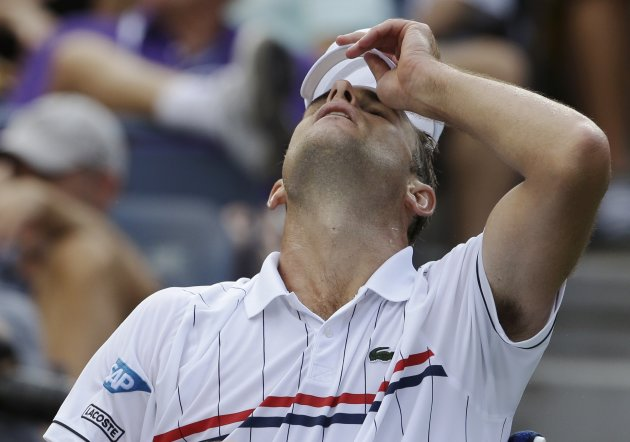 Andy Roddick reacts during his match with Argentina&#39;s Juan Martin Del Potro in the quarterfinals during the 2012 US Open tennis tournament, Wednesday, Sept. 5, 2012, in New York. (AP Photo/Darron Cummings)