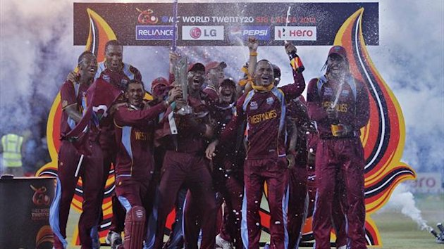 West Indies' players pose with trophy after winning the World Twenty20 final cricket match against Sri Lanka in Colombo