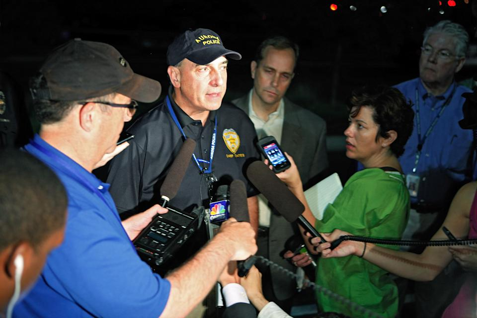 Aurora Police Chief Daniel Oates talks to media at the Aurora Mall where as many as 14 people were killed and many injured at a shooting at the Century 16 movie theatre in Aurora, Colo., Friday, July 20, 2012. (AP Photo/Ed Andrieski)