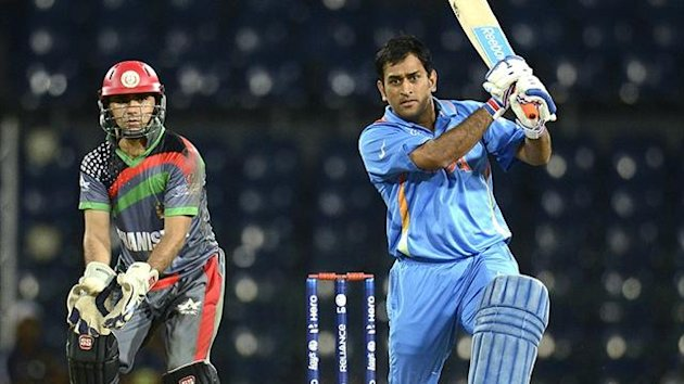 India's MS Dhoni against Afghanistan (Reuters)