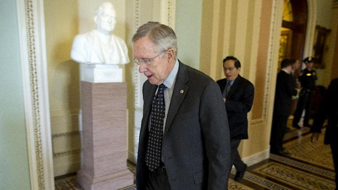 Senate Majority Leader Harry Reid of Nev. leaves a caucus on Capitol Hill in Washington, Thursday, April 18, 2013.  (AP Photo/Evan Vucci)