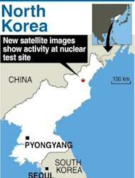 Graphic locating North Korea's nuclear test site. New satellit images reveal ongoing activity, as expectation mounts of an imminent detonation