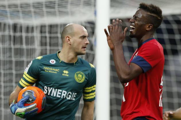 Lille's Origi reacts after missing a scoring opportunity against Nantes during their French Ligue 1 soccer match in Villeneuve d'Ascq