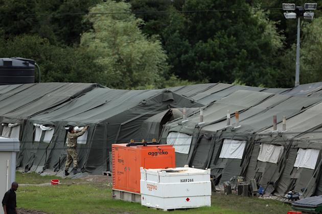 Soldiers And Games Staff Prepare Temporary Accomodation In Hainault