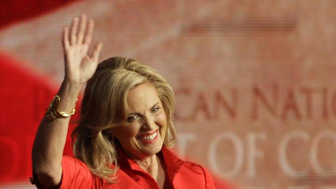 Ann Romney, wife of U.S. Republican presidential nominee Mitt Romney, arrives to address the Republican National Convention in Tampa, Fla., on Tuesday, Aug. 28, 2012.(AP Photo/Charlie Neibergall)