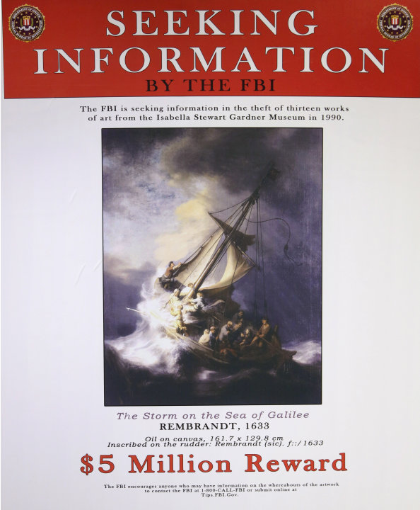 In this Monday, March 18, 2013 copy photo of a poster provided by the FBI, a likeness of the stolen Rembrandt painting The Storm on the Sea of Galilee is seen at FBI headquarters in Boston. The FBI be