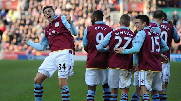 Matthew Lowton of Aston Villa celebrates scoring his team's second goal to make the score 1-2 during the Barclays Premier League match between Stoke City and Aston Villa at the Britannia Stadium on April 6, 2013 (Getty)