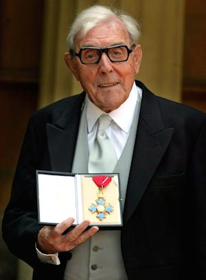 "FILE This Tuesday, June 7,  2005 file photo shows Veteran English comic actor Eric Sykes after receiving his CBE (Commander of the British Empire) award from Britain's Queen Elizabeth II at a Buckingham Palace investiture, in London. Eric Sykes, the widely-acclaimed British comedy actor and writer, died Wednesday July 4, 2012 morning after a short illness. He was 89. Sykes was one of the most popular comic actors of his generation, appearing in shows in London's West End into his 80s. He began his career writing scripts for BBC shows, co-writing 24 episodes of the classic radio comedy ""The Goon Show"" with the late Spike Milligan.  (AP Photo / Andrew Parsons, WPA Pool)"