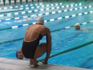 Dara Torres, 41, chats with a 76-year-old swimmer/fan in the next lane at the Asphalt Green Aqua Center in New York.