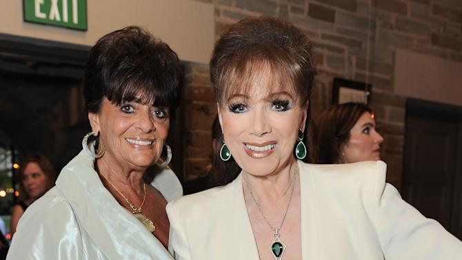 EXCLUSIVE CONTENT - Faye Mancuso, left, and Jackie Collins attend the Backstage at the Geffen gala at the Geffen Playhouse on Monday, May 13, 2013, in Los Angeles. (Photo by Jordan Strauss/Invision for Geffen/AP Images)