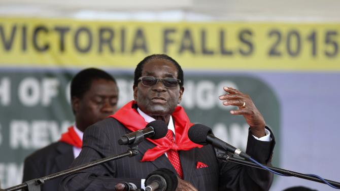 Mugabe addresses people gathered for his 91st birthday celebration in Victoria Falls