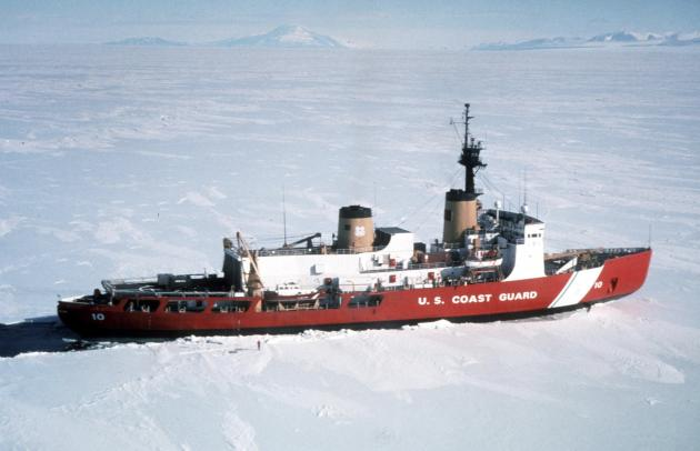 Polar Star, the U.S. Coast Guard icebreaker, is seen in a handout photo taken in Antarctica