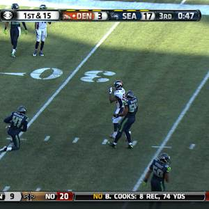 Peyton just misses Demaryius Thomas