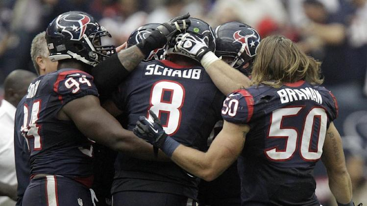 The Houston Texans celebrate their 43-37 win over the Jacksonville Jaguars in overtime at an NFL football game on Sunday, Nov. 18, 2012, in Houston. (AP Photo/Patric Schneider)