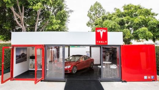 Electric Driving!: Tesla Heads to the Hamptons with Chic Shipping Containers