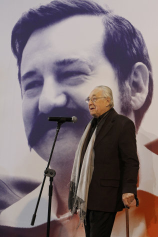 Poland&#39;s Oscar-honored film director Andrzej Wajda tells reporters in Warsaw, Poland on Thursday, Nov.24, 2011 that the movie he is starting on about former president and Solidarity founder Lech Walesa is the greatest challenge of his 55-year career. Wajda begins shooting &quot;Walesa&quot; on Dec. 1 in the Baltic port city of Gdansk, where the then-union leader kicked off the Solidarity movement in 1980 that helped lead to the downfall of communism. (AP Photo/Czarek Sokolowski)