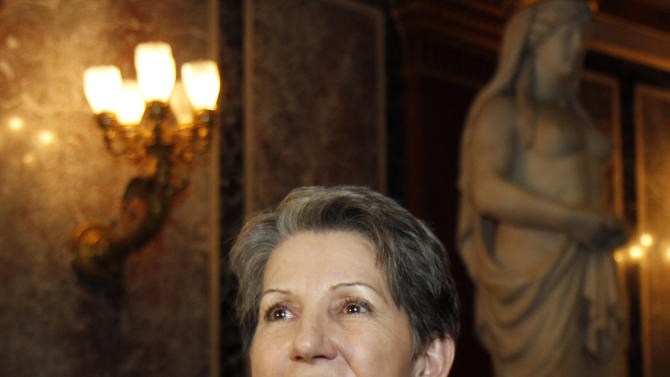 "TO GO WITH HOLOCAUST OPERA STORY BY GEORGE JAHN - Speaker of the Austrian Parliament Barbara Prammer speaks during an interview with the Associated Press about Austrian composer Peter Androsch's holocaust opera ""Spiegelgrund"" at the parliament in Vienna, Austria, Friday, Jan. 25, 2013. Androsch goes where few others have dared, with an opera depicting how Nazis methodically killed mentally or physically deficient children. The performance premieres to mark International Holocaust Day in the parliament of Austria, a nation still atoning for its role in atrocities committed by the Nazis. (AP Photo/Ronald Zak)"