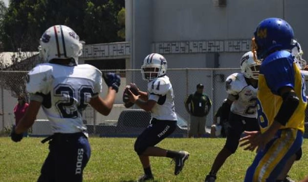 The East L.A. Bulldogs, in white, who may not get to play the 2013 season — East L.A. Bulldogs
