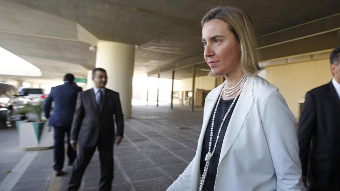 European Union foreign policy chief Federica Mogherini arrives at Baghdad Airport
