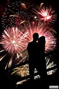 couple love fireworks