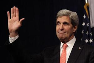 U.S. Secretary of State Kerry gestures at the Center for American Progress 10th Anniversary policy forum in Washington