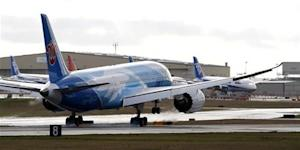 The Boeing 787 lands in Everett, Washington travelling with crew only from Fort Worth, Texas