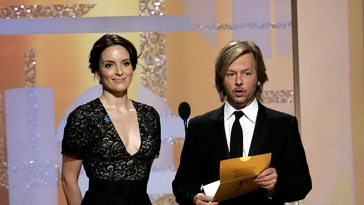 Tina Fey and David Spade were our favorite un-funny presenters at the 64th annual Golden Globe Awards.
