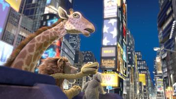 Bridget the Giraffe (voiced by Janeane Garofalo ), Larry the Anaconda (voiced by Richard Kind ), Samson the Lion (voiced by Kiefer Sutherland ) and Nigel the Koala (voiced by Eddie Izzard ) in Walt Disney Pictures' The Wild