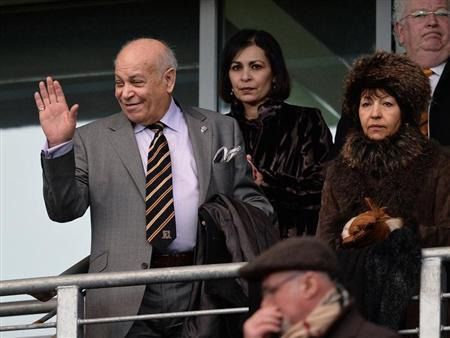 Hull City's owner Allam waves before English Premier League against Fulham in Hull, northern England