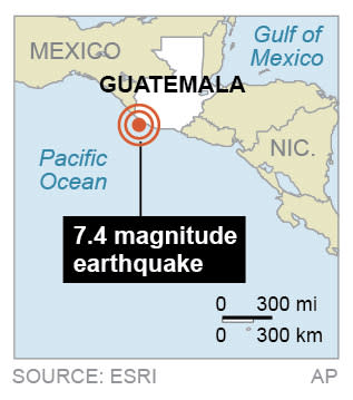 Map shows location of 7.4 earthquake