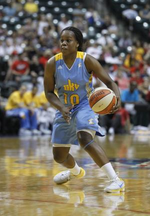 FILE - In this July 21, 2011, file photo, Chicago Sky's Epiphanny Prince dribbles the ball against the Indiana Fever during the first half of a WNBA basketball game in Indianapolis. Prince will miss a few weeks of the WNBA season to join the Russian national women's basketball team for the EuroBasket tournament from June 15-30. (AP Photo/Michael Conroy, File)