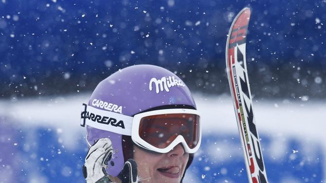 Maze from Slovenia reacts after her second run of the World Cup Women's Giant Slalom race in Kuehtai ski resort