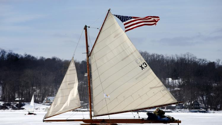 Antique ice sailboats from the Hudson River Ice Yacht Club's sail on the frozen upper Hudson River near, Astor Point in Barrytown, New York
