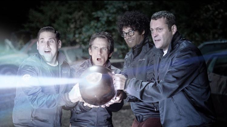 "This film image released by 20th Century Fox shows, from left, Jonah Hill, Ben Stiller, Richard Ayoade and Vince Vaughn in a scene from ""The Watch."" (AP Photo/20th Century Fox, Melinda Sue Gordon)"
