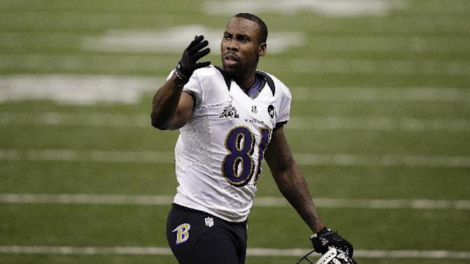FILE - In this Feb. 3, 2013, file photo, Baltimore Ravens wide receiver Anquan Boldin (81) reacts to a play against the San Francisco 49ers during the NFL Super Bowl XLVII football game in New Orleans. The Ravens announced on Monday, March 11, that the 49ers have acquired Boldin for a sixth-round draft pick. (AP Photo/Elaine Thompson, File)