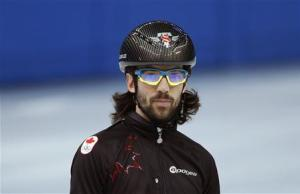 Short track speed skater Charles Hamelin of Canada practises in preparation for the 2014 Sochi Winter Olympics