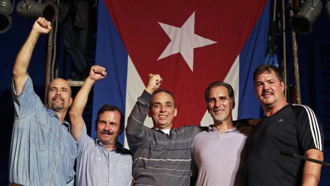 "The ""Cuban Five"" Gerardo Hernandez, Fernando Gonzalez, Antonio Guerrero, Rene Gonzalez and Ramon Labanino at a concert in Havana"
