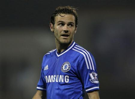 Chelsea's Juan Mata reacts during their game against Swindon Town in their English League Cup soccer match at the County Ground in Swindon