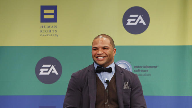 IMAGE DISTRIBUTED FOR EA - NFL linebacker and Super Bowl Champion Brendon Ayanbadejo of the Baltimore Ravens speaks at Electronic Arts'  LGBT Full Spectrum Event on Thursday, March, 7, 2013 in New York City, New York. (Photo by Amy Sussman/Invision for EA/AP Images)
