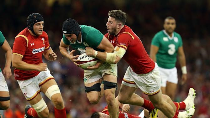 Tommy O'Donnell (C) will start against Wales having not played for Ireland since dislocating his hip against the same opponents in their World Cup warm-up win in Cardiff in August